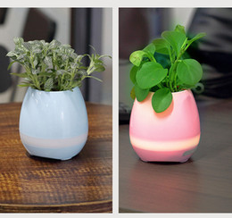 Discount coolest new gadgets - 2017 New Funny Cool Gadget Bluetooth speaker music vase touch swift with night light Music Flower Pots for Home Office