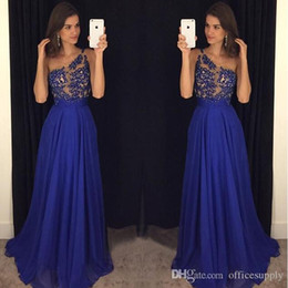 Barato Noite Um Corpetes-2017 Royal Blue One Shoulder Chiffon Prom Dress com lenços finos Appliques Bodice Long Backless Evening Gowns para eventos especiais