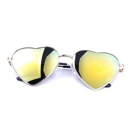 Heart Sun Glasses Wholesale UK - Wholesale-Fashion Heart Shaped Sunglasses for Summer Women metal Reflective Lenes Sun Glasses Sports Style Sun Glass