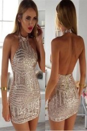 Barato Vestido De Lantejoulas-2017 Sexy Rose Gold Sequin comprimento do joelho Vestido Cocktail formal Halter Open Back apertado curto Homecoming Dress
