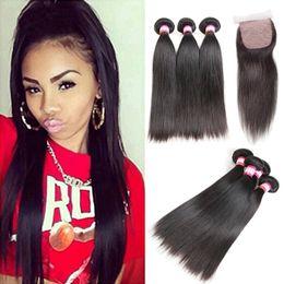 bundle weave silk top closure 2019 - 8A Brazilian Straight Hair Bundles With Silk Base Closure Wet And Wavy Virgin Hair Weaves With Top Closure Straight Huma