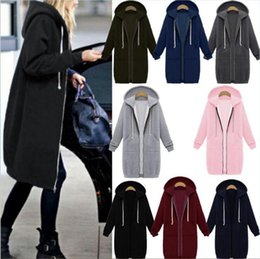 Barato Camisolas Com Capuz Feminino Casacos-Women Warm Zipper Hoodie Sweater Hooded Long Jacket Sweatshirt Revestimento Casaco oversize Jacket Top Outwear Sweatshirts 8 Cores LJJO3115