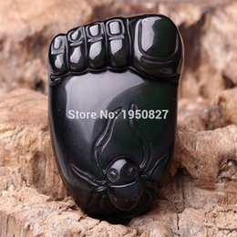 Obsidian Pendants Men Canada - 100% Natural High Quality Black Obsidian Chinese Natural Black Stone Jade Pendant For Men And Women Jade Jewelry