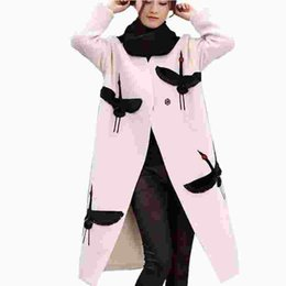 s embroidery UK - New 2017 Women Crane Embroidery Coat Wool Blend Overcoat Long Woolen Outerwear Double Breasted Wool Overcoat Trench