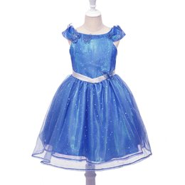 Papillon Bleu Tutu Pas Cher-Blue Girl Cendrillon Dress Sequins Tulle Princess Butterfly Tutu Dress Party Halloween Cosplay Cinderella Costume Livraison gratuite