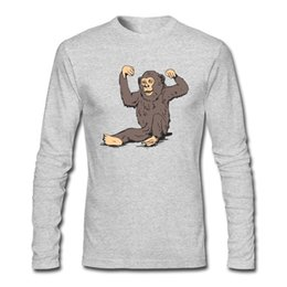 Strong Monkey Print Men's T-shirts For Active and Sports Men with Long Sleeve and O-Neck Shirts