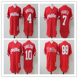 f402574e Philadelphia Phillies Jersey 99 Mitch Williams 7 Maikel Franco 4 Lenny  Dykstra 10 Mens ...