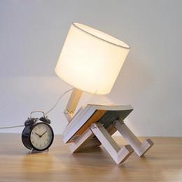 Modern Robot Shape Wooden Table Lamp E27 Lamp Holder 110 240V Parlor Indoor  Study Desktop Lighting Free Shipping Modern Wooden Table Lamps For Sale