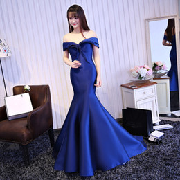 Los Vestidos De Noche De Coctel De Encaje Baratos-2017 Royal Blue satinado Sexy Fishtail Evening Party vestido de novia Delgado Banquete Off-the-hombro de encaje hasta Long Sirena Prom vestido