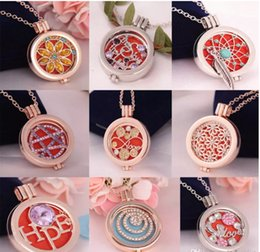 Vintage Style Locket Necklace NZ - Aromatherapy Jewelry Necklace Vintage DIY Coins Angle Wing Locket Pendant Essential Oil Diffuser Necklace Mix 12 Styles For Choose B373Q