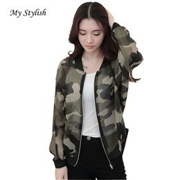 Discount wholesale stylish jackets - Wholesale- 1PCS New Fashion Autumn Women Stand Collar Long Sleeve Casual Zipper Camouflage Printed Bomber Outwear Jacket