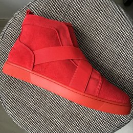 Red Band Canada - New 2017 mens womens red suede leather with cross Elastic band high top sneakers,design red bottom causal shoes 36-46 drop shipping
