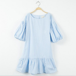 Childrens Vestidos De Algodón Baratos-Vestidos a rayas adolescente de verano Junior volantes de algodón Vestido de grandes bebés Moda Casual Dress 2017 childrens clothing