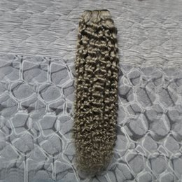 gray curly weave 2019 - Kinky Curly Weave Human Hair Bundles 100g 1pcs Brazilian Human Hair Weave Gray Color cheap gray curly weave