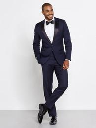 Discount navy blue skinny suit - Wholesale- 2016 Navy Blue Men Wedding Suits Custom Made Slim Fit Wedding Groom Tuxedos For Men Groomsman Best Man Suit J