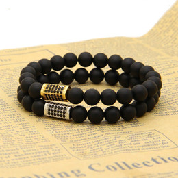 Discount ring beads - Wholesale Exquisite Micro Inlay Black Cz Rectangle With 8mm Matte Agate Stone Beads Top Quality Bracelet