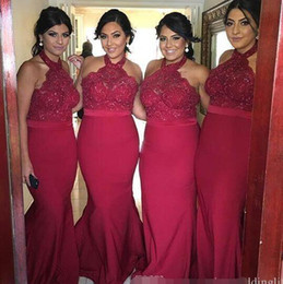 halter wedding dress sash applique Canada - Burgundy Halter Neck Long Bridesmaid Dresses Mermaid Lace Top Floor Length Fuchsia Party Prom Dresses Wedding Guest Gowns Custom Made