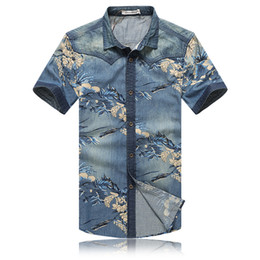 slim fit mens floral shirt UK - Wholesale- New Summer 2016 Men Shirt Short Sleeve Floral Print Chemise Homme Blue Cotton Slim Fit Mens Denim Shirts Plus 5XL Shirt Men