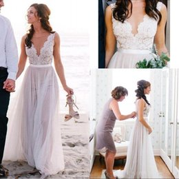 Best elegant gowns online shopping - Best Selling Boho Beach A Line Wedding Dresses Elegant Lace V neck Floor Length Tulle Cheap Wedding Bridal Gowns Covered Button Plus Size
