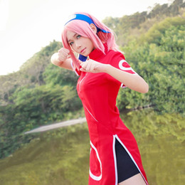 Wholesale naruto sakura cosplay costume for sale - Group buy Haruno Sakura cosplay costumes cheongsam Japanese anime Naruto clothing Halloween Masquerade Mardi Gras Carnival costumes