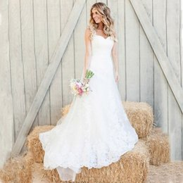 $enCountryForm.capitalKeyWord Australia - Gorgeous Country Wedding Dress Mermaid Sweetheart Neckline Sleeveless Lace Appliques Tulle Bridal Gowns with Court Train Custom Made