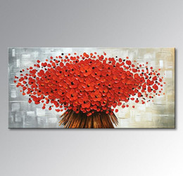 Modern Abstract Flower Paintings Canada - No framed Hand Painted Abstract Canvas Wall Art Modern Red Flower Oil Painting Contemporary Artwork Floral