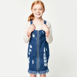 Fermeture À Glissière Sans Manches En Denim Pas Cher-Teenager Denim Tassel Robes Junior Hallow Out Fashion Suspender Robe Big Girls Zipper Casual Dress 2017 Vêtements pour enfants