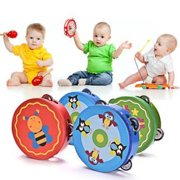$enCountryForm.capitalKeyWord Australia - 1 Pc Kids Educational Cartoon Wooden Drum Rattles Toy Baby Hand Drum Toy Musical Drum Rattles Beat Instrument Handbell Best Gift