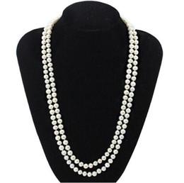 b10f6b94ddca Collar largo de perlas 7-8 mm Collar de perlas naturales blancas de una  hilera de 40 pulgadas 925 broche de plata