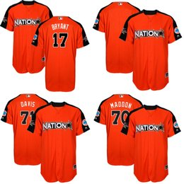 cubs jerseys 70 joe maddon 17 kris bryant 44 anthony rizzo 9 javier baez dodgers 22 clayton kershaw orange 2017 all star national league stitched mlb