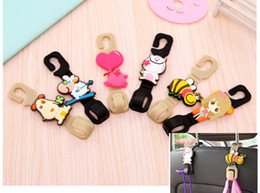 cute cloth purses Australia - 2pcs set Universal Cute cartoon Car Back Seat Hanger Holder Hook for Bag Purse Cloth Grocery Storage Auto Fastener Clip