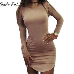 Discount plus size sexy tunics club - Wholesale- Plus Size Women Clothing 2016 Autumn Long Sleeve Mini Bodycon Tunic Slim Party Sexy Clubwear Side Split Tshir