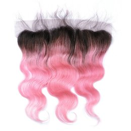 1b pink human hair 2019 - Virgin Indian Pink Ombre Human Hair Ear to Ear 13x4 Lace Frontal Closure Body Wave 1B Pink Two Tone Colored Full Lace Fr