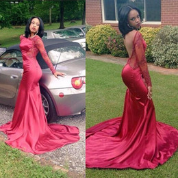 Satin Long Evening Dresses Canada - African Burgundy Mermaid Prom Dresses 2017 Sexy Open Back Long Sleeves Lace Satin Formal Gowns Evening