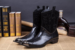 Motorcycle Boots 46 Canada - new 2018 Western Style ROCK man's boots black help shoes boots man Pointed steel-toed leather man's Knight Boots , 45 46