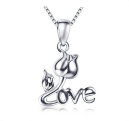 White Rose For Lover Canada - White Gold Plated LOVE Letter Pendant 925 Sterling Silver Rose Necklace Pendant for Lover Gift Jewelry 15.74inch,17.71inch Necklace Chain