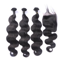 Discount virgin peruvian hair extensions - 3 Bundles With Closure 4*4 Swiss Lace Free Middle Three Part Virgin Body Wave Human Hair Extensions