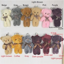 $enCountryForm.capitalKeyWord NZ - 200Pcs lot Wholesale 12cm Cute Mini Teddy Bear Plush Kids Toys Stuffed Dolls Pendant Adorable Wedding Gift for Children