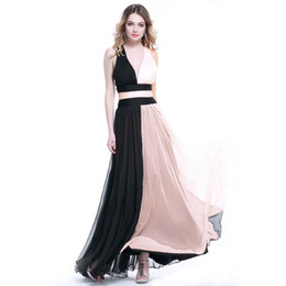 China Two Colors Attractive V-Neck Chiffon Long Dress Sexy Open Back Ladies Carpet Dress Wholesale Price Evening Dress cheap open image lady suppliers