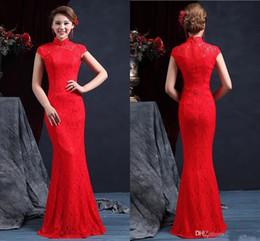 High Quality Wedding Dresses Canada - High Quality High Neck Sleeveless Chinese Mermaid Cheongsam Wedding Dresses Floor Length Zipper Back Red Lace Wedding Dress Bridal Gown