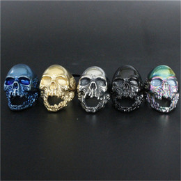 Men Size 15 Rings Australia - 3pcs lot New Size 7-15 Cool Big Biker Skull Ring 316L Stainless Steel Fashion jewelry Men Walking Dead Skull Ring
