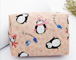waterproof travel toiletry bag Canada - 3pcs 2017 Women Fashion Cotton Cartoon Printed waterproof Protable Zipper Travel Cosmetic Toiletry Kits Bag