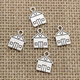 House Plates Australia - Wholesale 130pcs Charms Tibetan Silver Bronze Plated cabin house building 16*12mm Pendant for Jewelry DIY Hand Made Fitting
