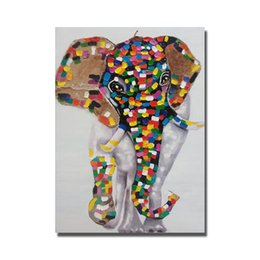 Cheap Large Abstract Canvas Art NZ - Top quality cheap price for wholesale cartoon animal thai elephant 1 oil paintng Large Canvas Art Cheap