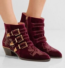 $enCountryForm.capitalKeyWord NZ - Hot 2017 Rivets Studded Woman Ankle Boots Fashion Brand Buckle Strap Suede Leather Short booties Round Toe Rome Botas Zapatos Mujer