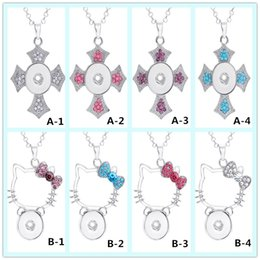 $enCountryForm.capitalKeyWord Canada - Xmas Gift! Crystal Cross Pendant Hello Kitty Snap Button Necklace 316L Stainless Steel Chain DIY 18mm Ginger Jewelry for women
