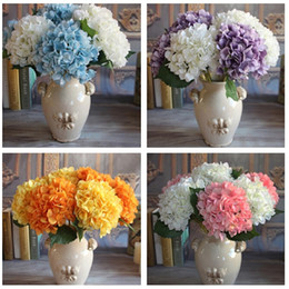 Fake white hydrangea Flowers online shopping - Artificial Hydrangea Flower Fake Silk Single Hydrangeas multi Colors for Wedding Centerpieces Home Party Decorative Flowers A0742