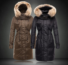 Barato Mulheres Para Baixo Em Peles De Penas-2016 Brand New Arrived Winter Thick Extra Large Fur Collar Down Coat Parka White Duck Feather Mulheres Long Down Jacket