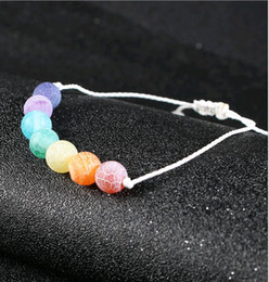 $enCountryForm.capitalKeyWord Canada - Handmade Colorful Yoga Bracelets Natural Weathering Stone Wax Rope Seven Chakras Crystal Hand Strings Jewelry for Women