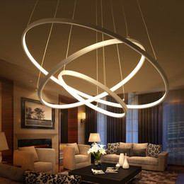 Modern Circular Ring Pendant Lights 3 2 1 Circle Rings Acrylic Aluminum  Body LED Lighting Ceiling Lamp Fixtures For Living Room Dining Room
